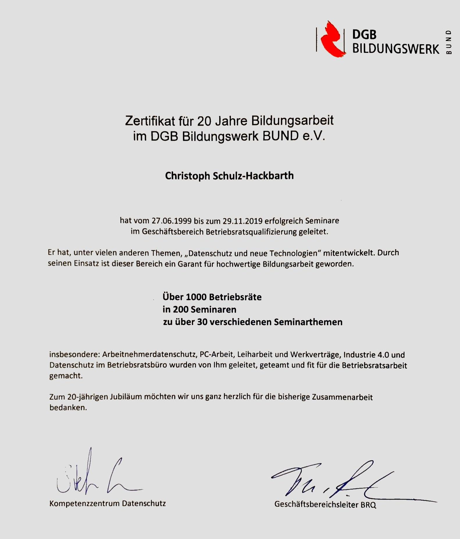 Zertifikat des DGB Bildungswerkes Bund für 20 Jahre Dozententätigkeit